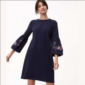 NEW Loft Navy Embroidered Puff Sleeve Dress XS